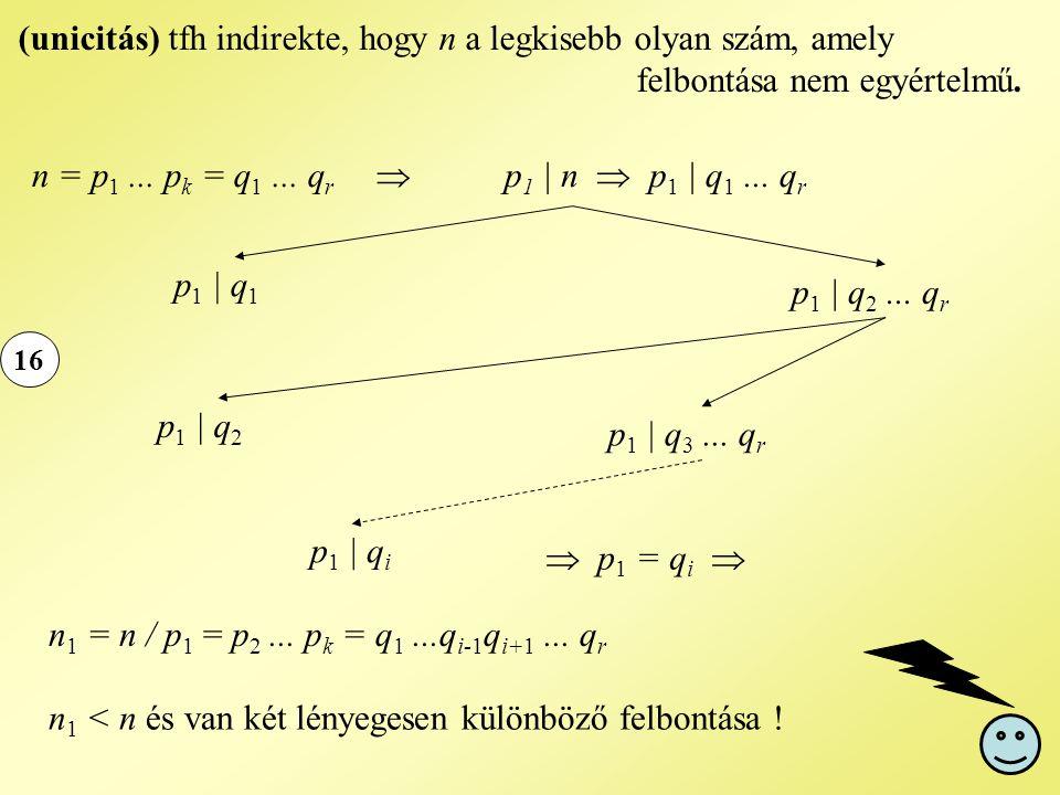 n1 < n és van két lényegesen különböző felbontása !