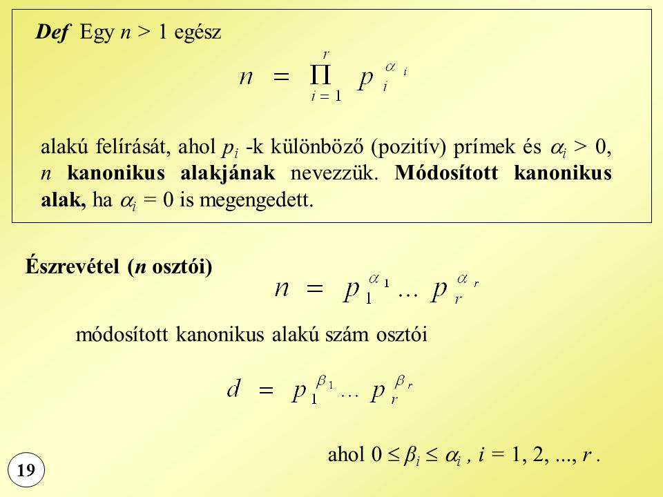 módosított kanonikus alakú szám osztói