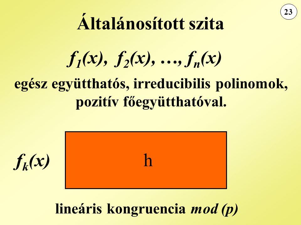 Általánosított szita f1(x), f2(x), …, fn(x) fk(x)