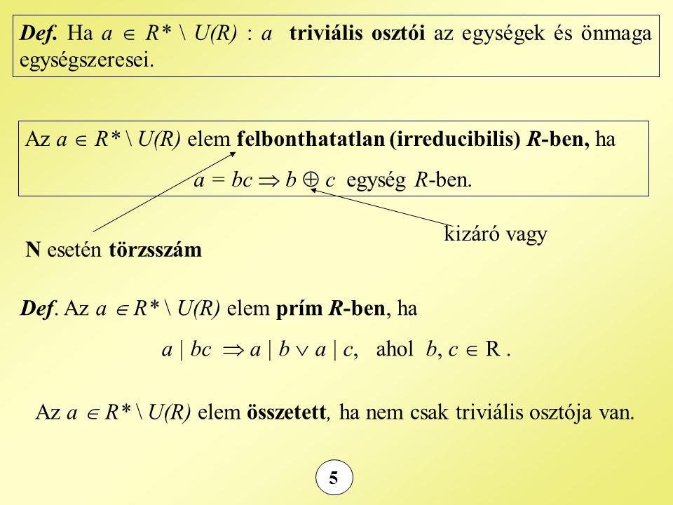 Az a  R* \ U(R) elem felbonthatatlan (irreducibilis) R-ben, ha