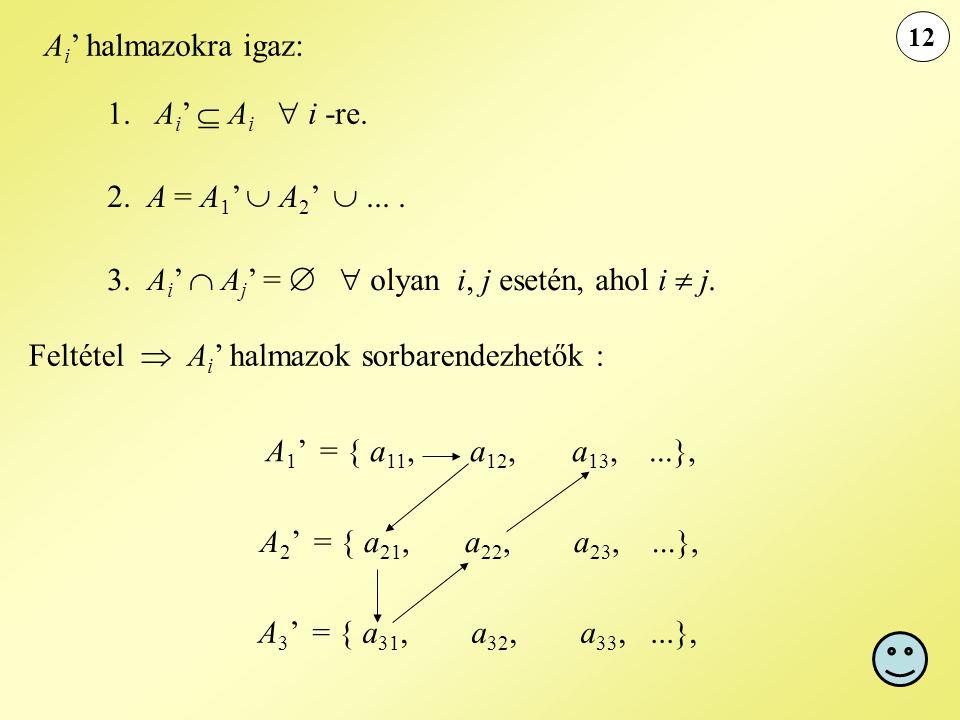 3. Ai'  Aj' =   olyan i, j esetén, ahol i  j.