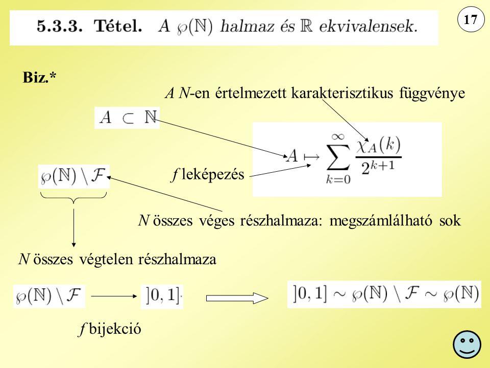 A N-en értelmezett karakterisztikus függvénye