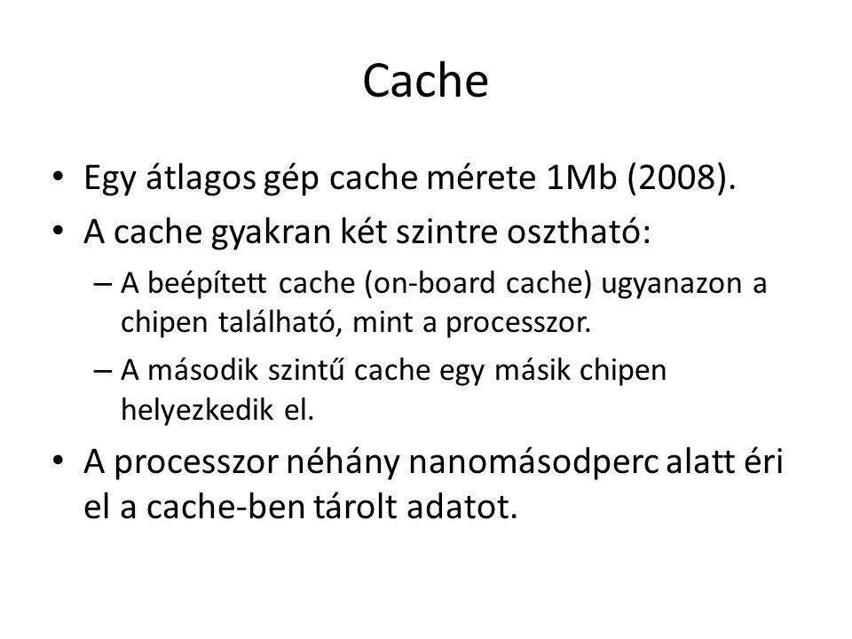 Cache Egy átlagos gép cache mérete 1Mb (2008).