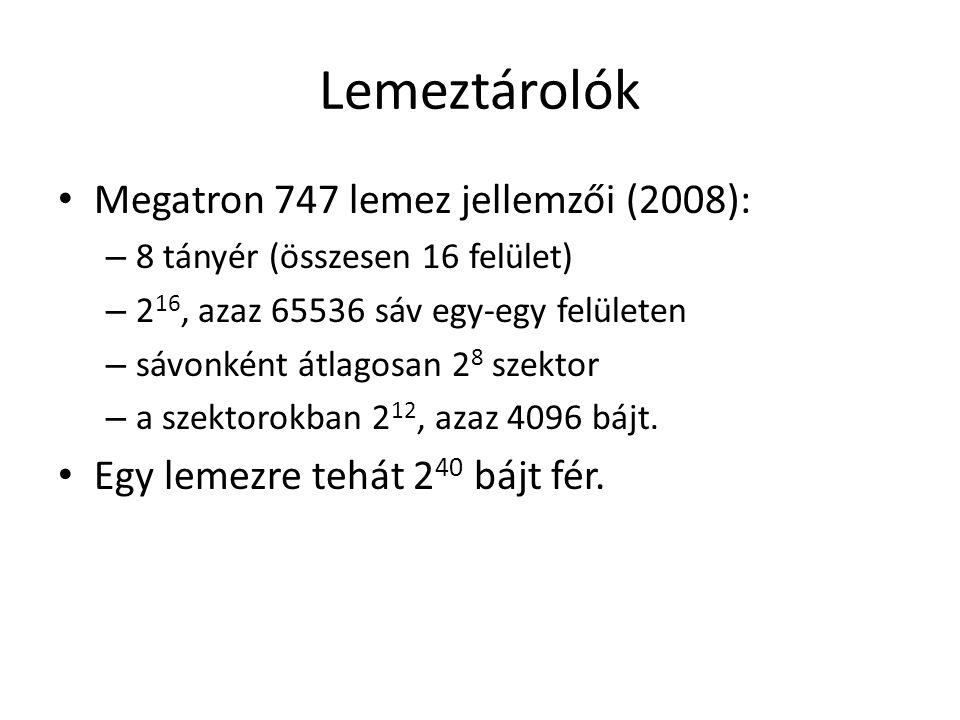 Lemeztárolók Megatron 747 lemez jellemzői (2008):