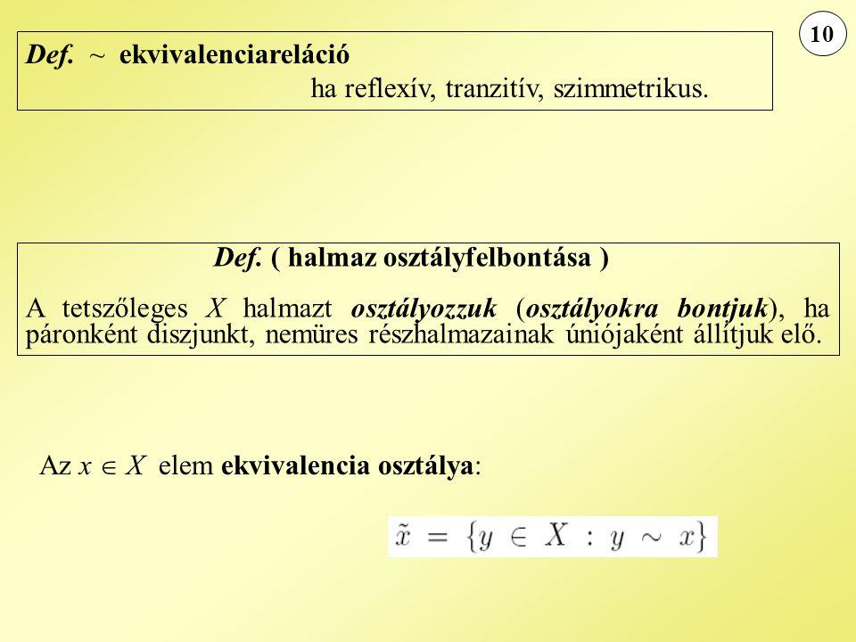 Def. ~ ekvivalenciareláció ha reflexív, tranzitív, szimmetrikus.