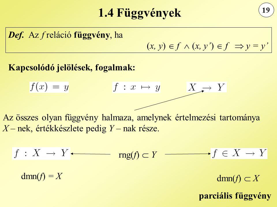 1.4 Függvények 19. Def. Az f reláció függvény, ha (x, y)  f  (x, y')  f  y = y' Kapcsolódó jelölések, fogalmak: