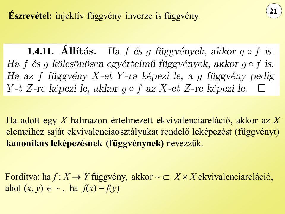 1.4.11. Észrevétel: injektív függvény inverze is függvény.
