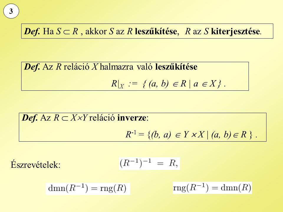Def. Ha S  R , akkor S az R leszűkítése, R az S kiterjesztése.
