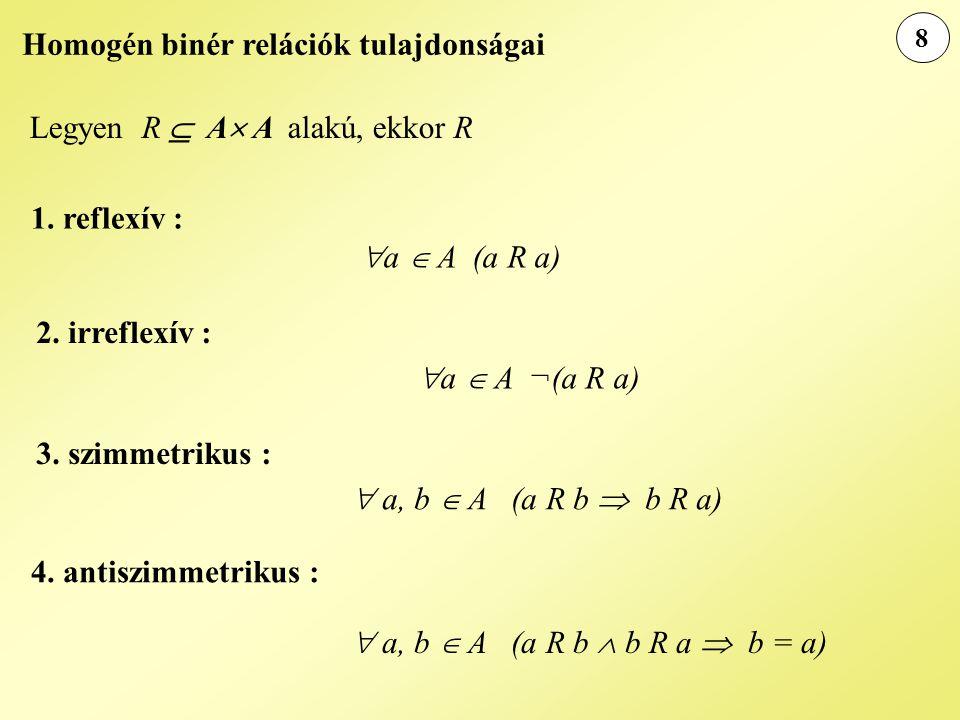 Homogén binér relációk tulajdonságai