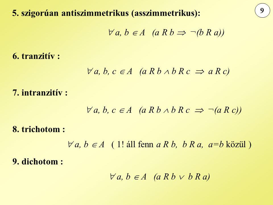 5. szigorúan antiszimmetrikus (asszimmetrikus):