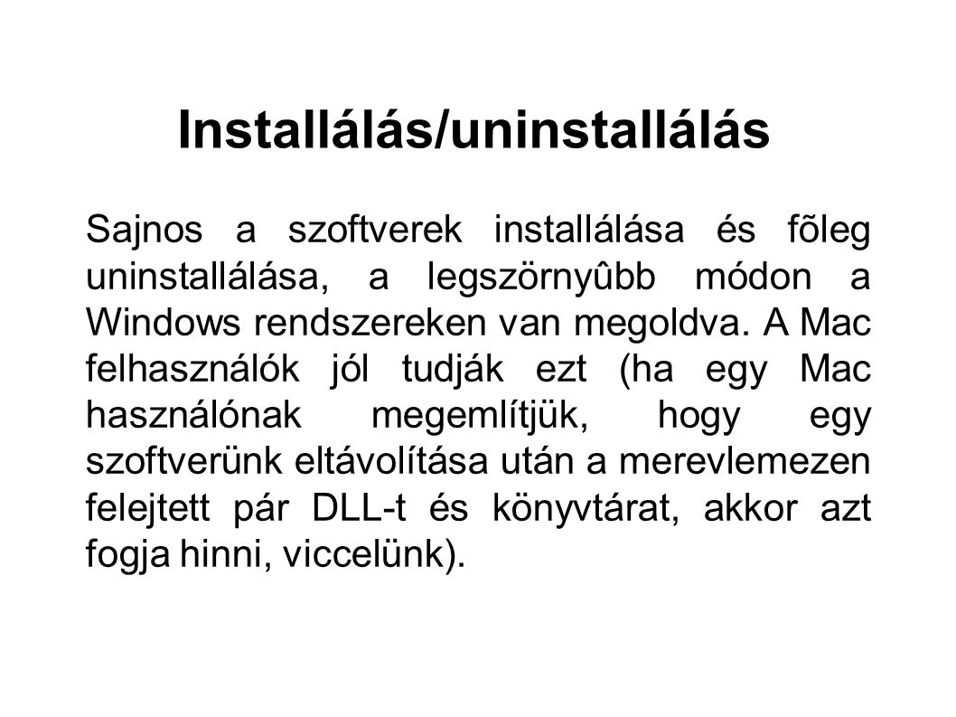 Installálás/uninstallálás