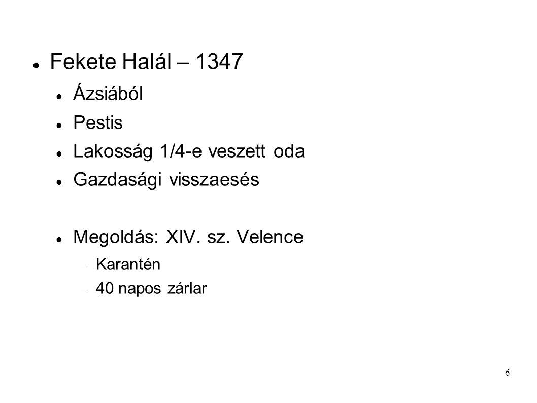 Fekete Halál – 1347 Ázsiából Pestis Lakosság 1/4-e veszett oda