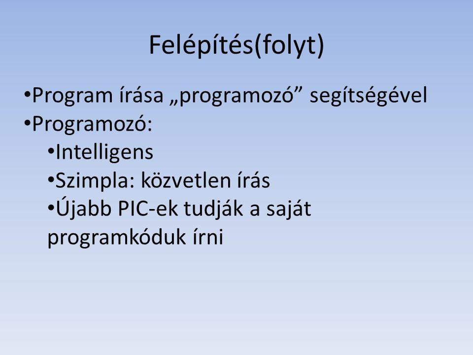 """Felépítés(folyt) Program írása """"programozó segítségével Programozó:"""