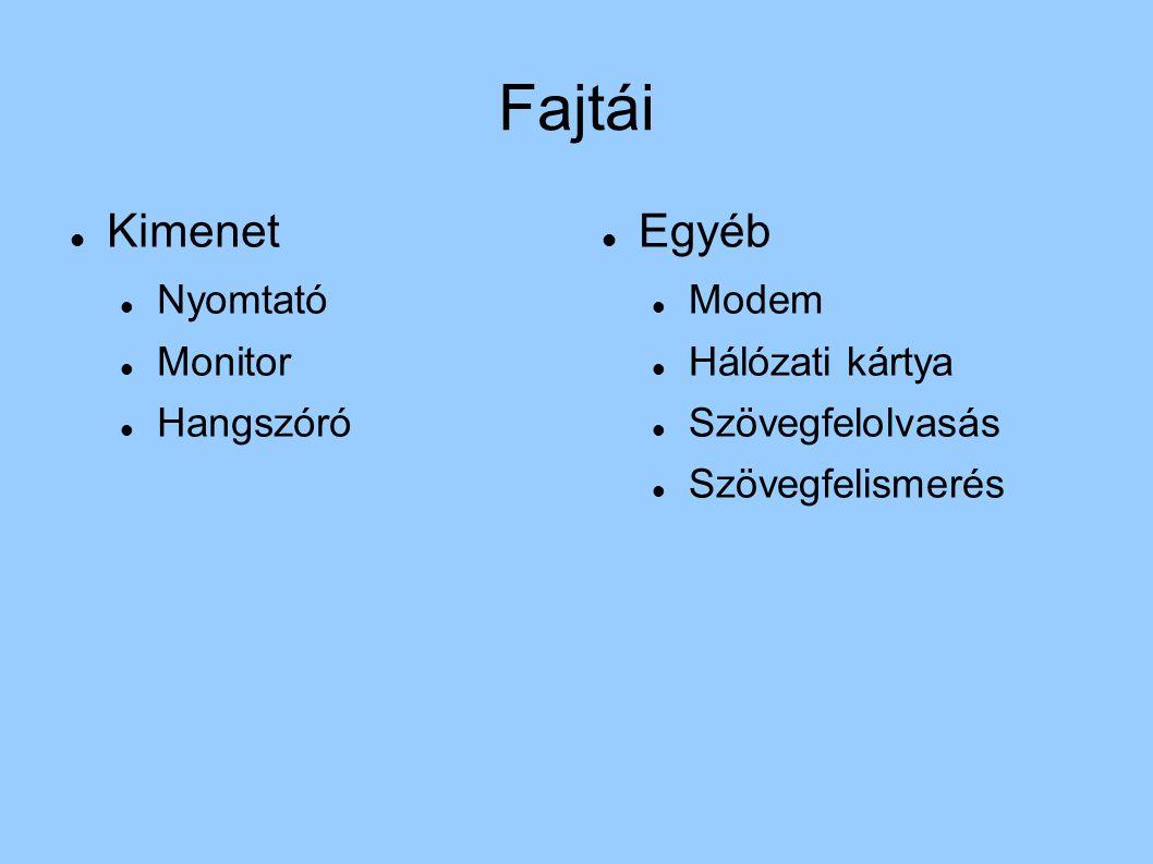 Fajtái Kimenet Egyéb Nyomtató Monitor Hangszóró Modem Hálózati kártya