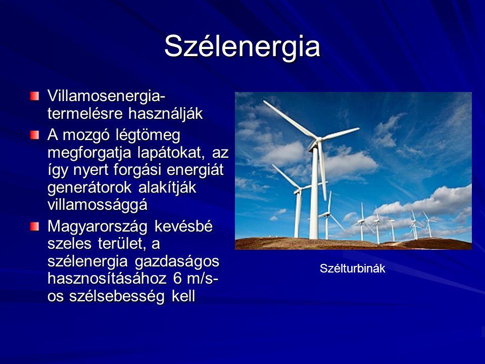 Szélenergia Villamosenergia-termelésre használják