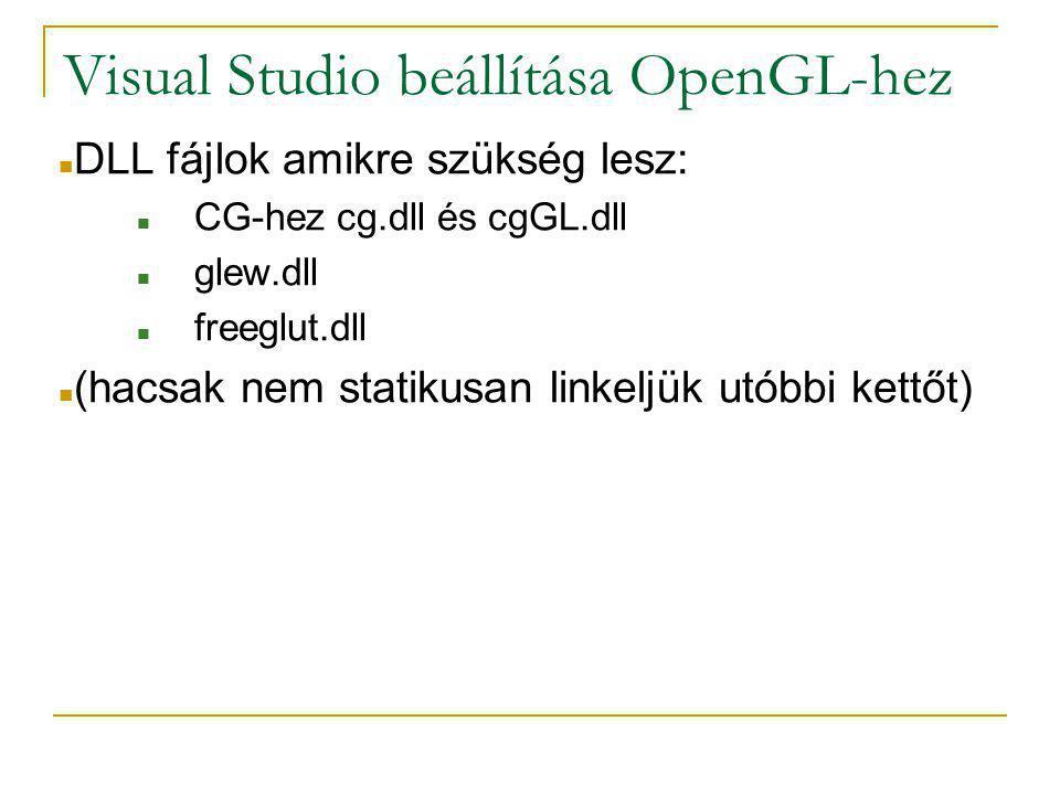 Visual Studio beállítása OpenGL-hez