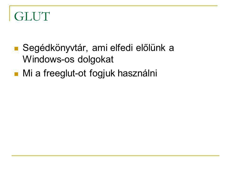 GLUT Segédkönyvtár, ami elfedi előlünk a Windows-os dolgokat
