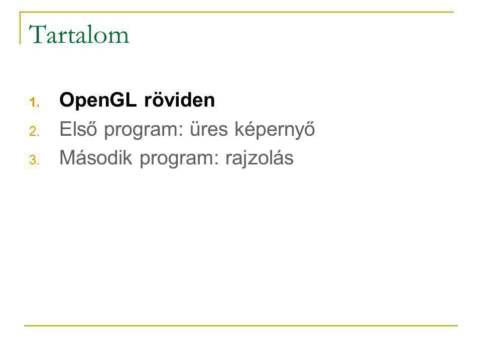 Tartalom OpenGL röviden Első program: üres képernyő
