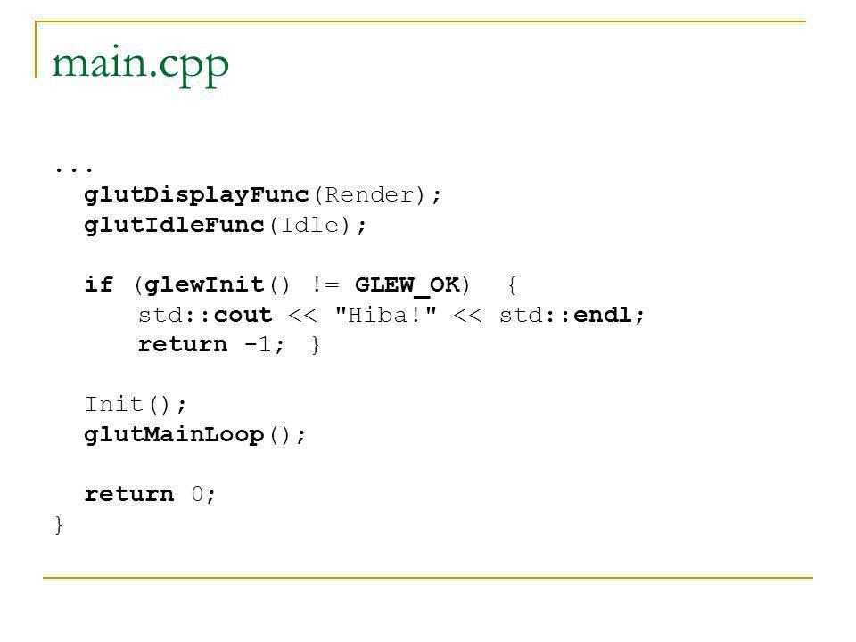 main.cpp ... glutDisplayFunc(Render); glutIdleFunc(Idle);