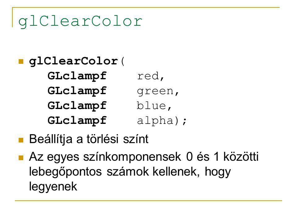 glClearColor glClearColor( GLclampf red, GLclampf green, GLclampf blue, GLclampf alpha);