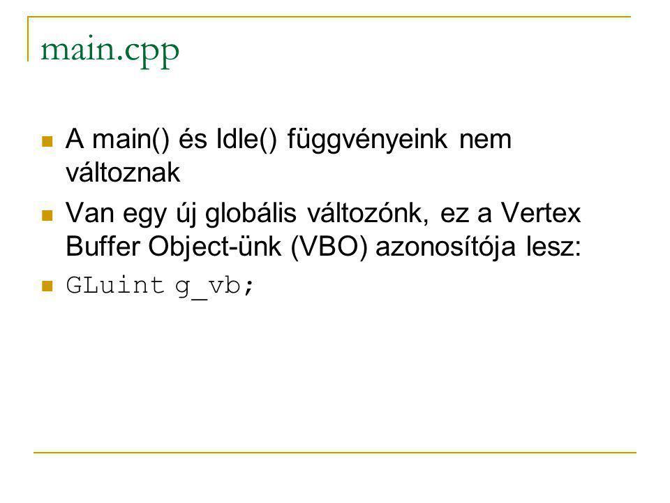 main.cpp A main() és Idle() függvényeink nem változnak