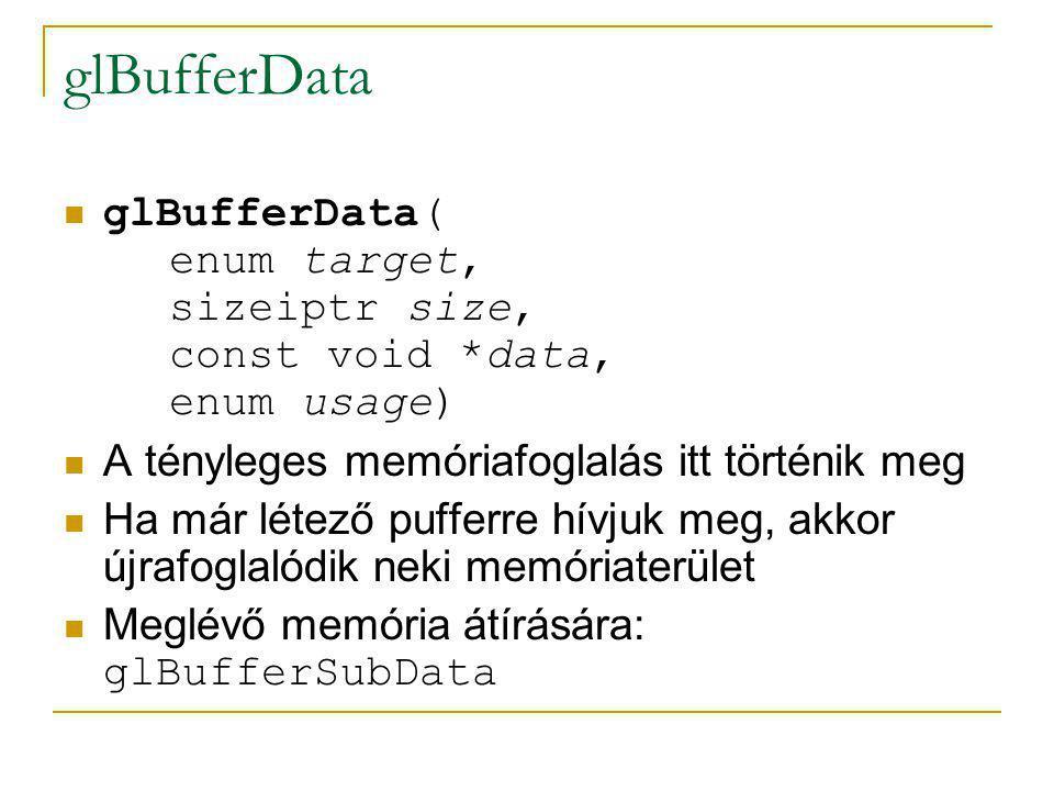 glBufferData glBufferData( enum target, sizeiptr size, const void *data, enum usage) A tényleges memóriafoglalás itt történik meg.