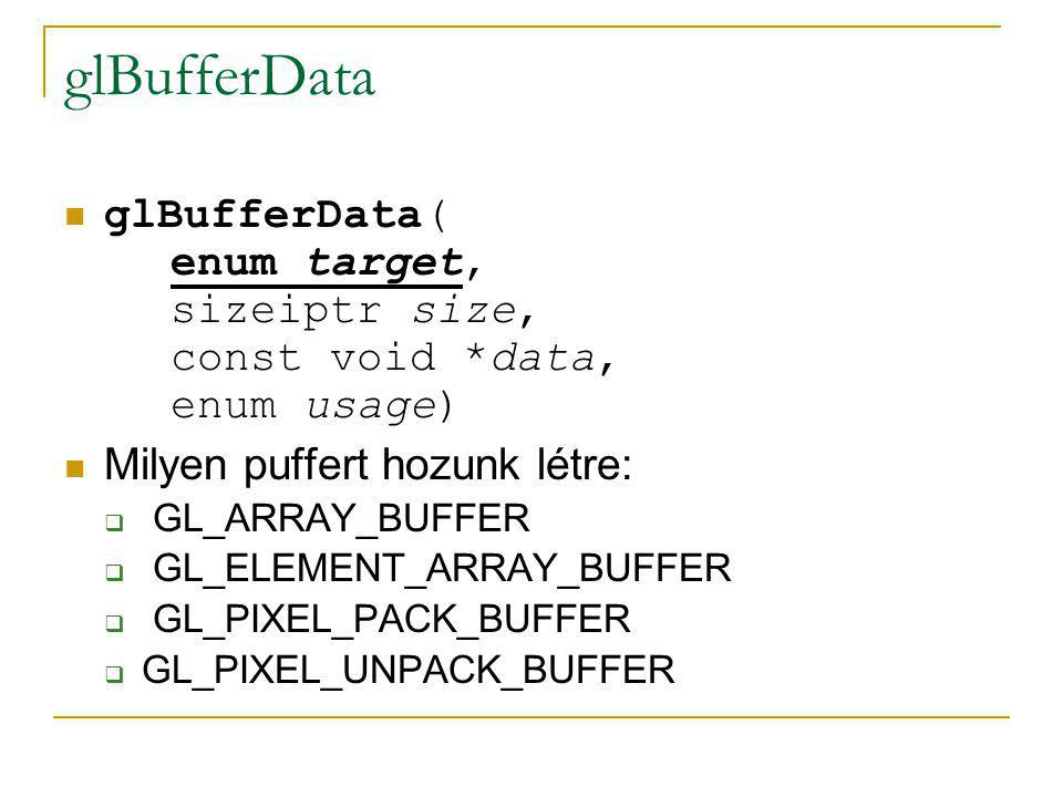 glBufferData glBufferData( enum target, sizeiptr size, const void *data, enum usage) Milyen puffert hozunk létre: