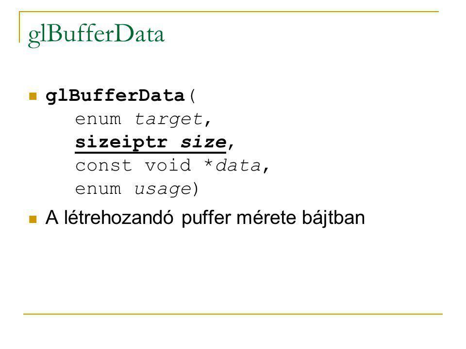 glBufferData glBufferData( enum target, sizeiptr size, const void *data, enum usage) A létrehozandó puffer mérete bájtban.