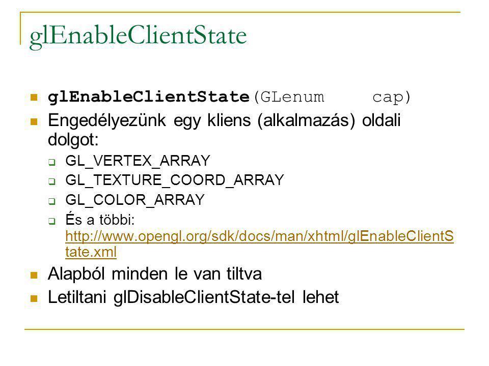 glEnableClientState glEnableClientState(GLenum cap)
