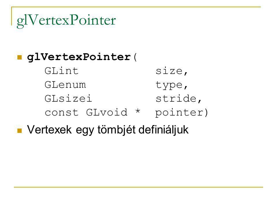 glVertexPointer glVertexPointer( GLint size, GLenum type, GLsizei stride, const GLvoid * pointer)