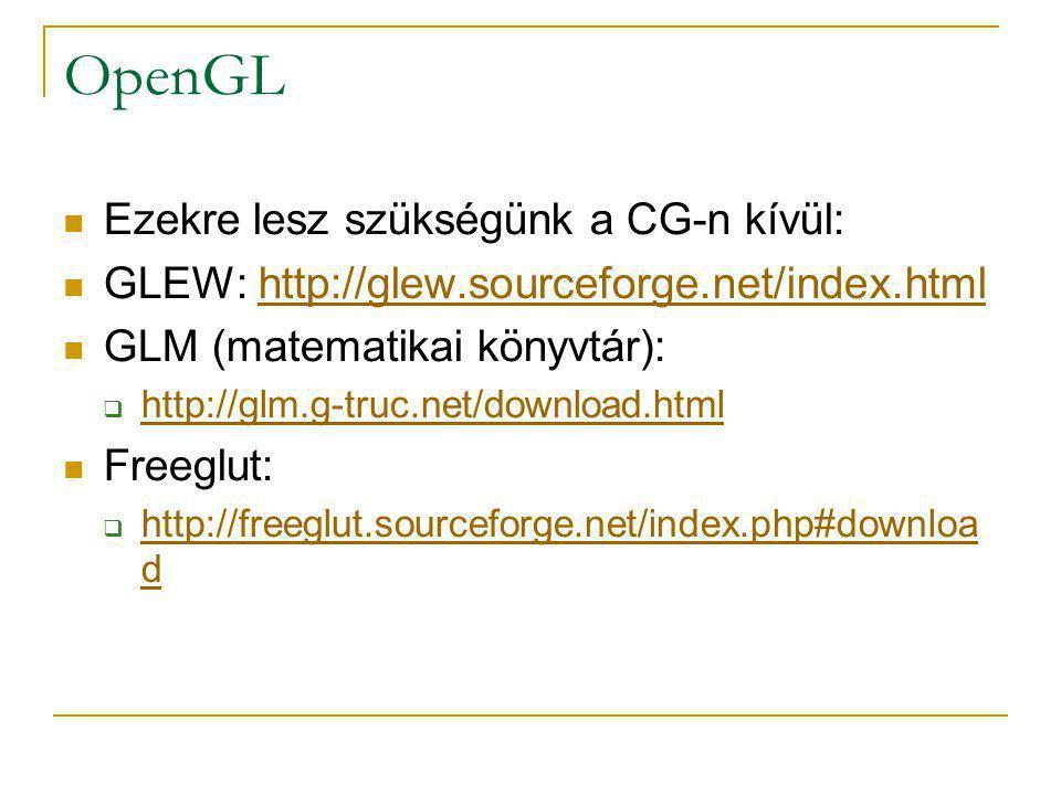 OpenGL Ezekre lesz szükségünk a CG-n kívül: