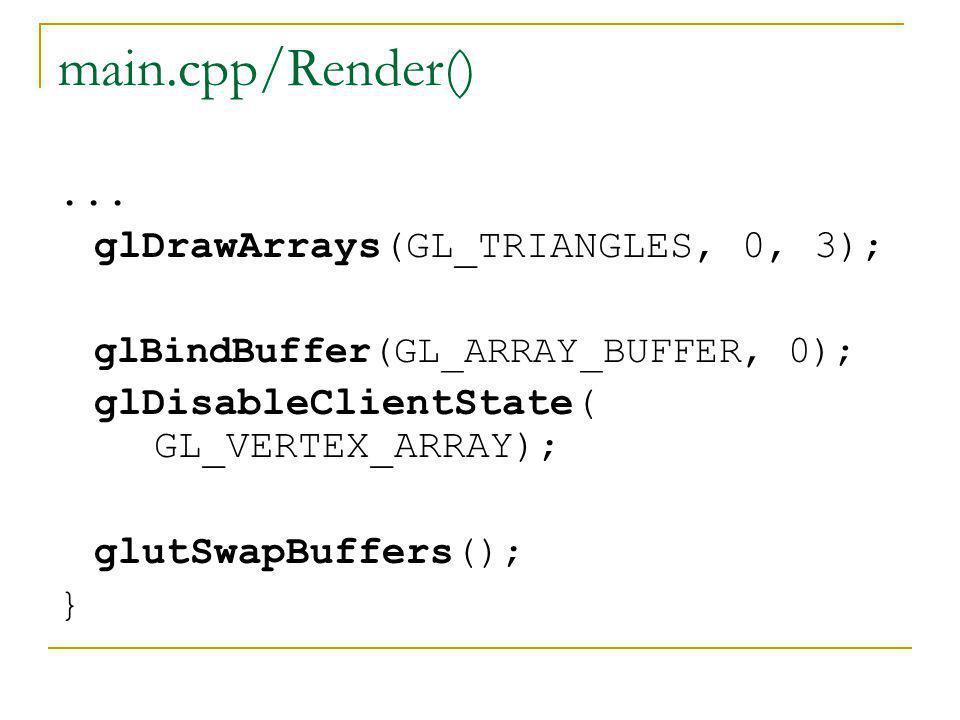 main.cpp/Render() ... glDrawArrays(GL_TRIANGLES, 0, 3);