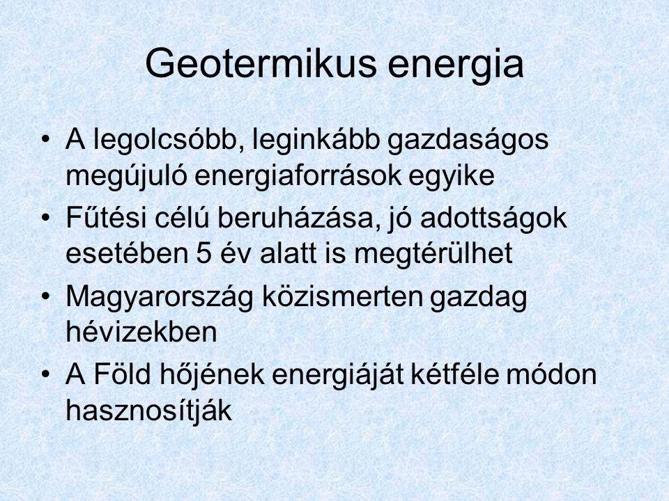 Geotermikus energia A legolcsóbb, leginkább gazdaságos megújuló energiaforrások egyike.