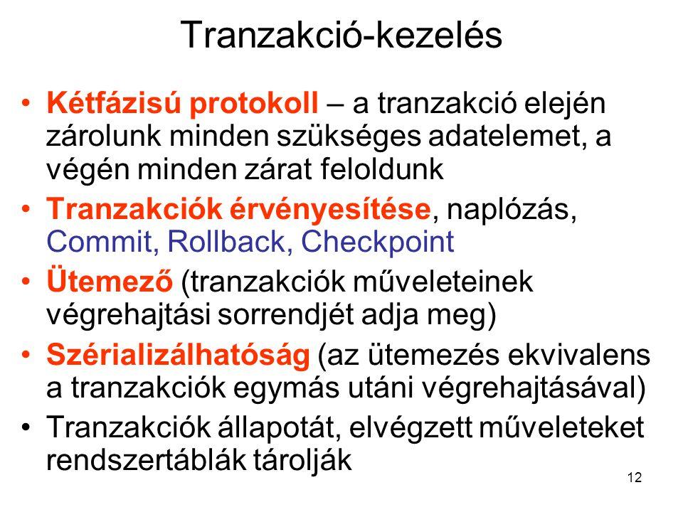 Tranzakció-kezelés Kétfázisú protokoll – a tranzakció elején zárolunk minden szükséges adatelemet, a végén minden zárat feloldunk.