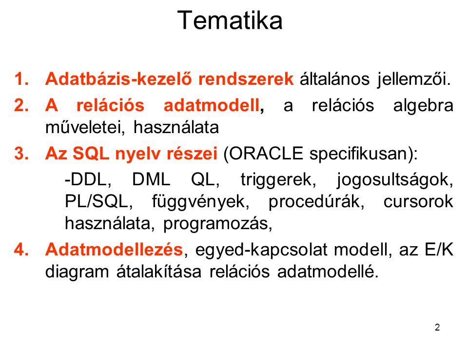 Tematika Adatbázis-kezelő rendszerek általános jellemzői.