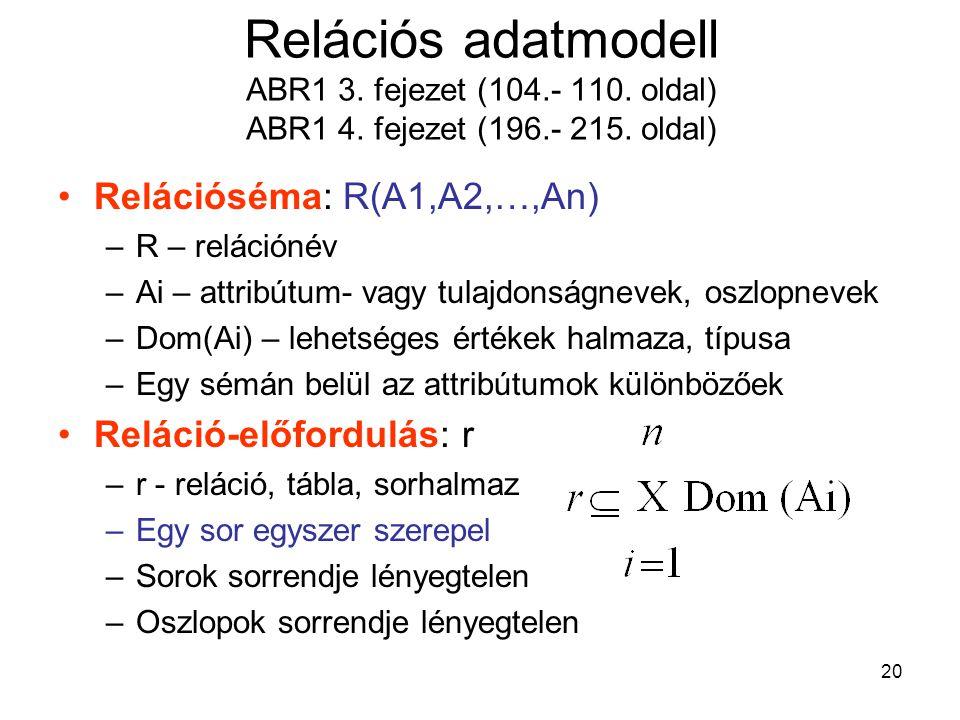 Relációs adatmodell ABR1 3. fejezet (104. - 110. oldal) ABR1 4