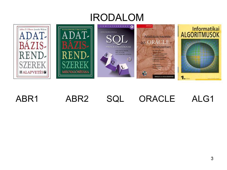 IRODALOM ABR1 ABR2 SQL ORACLE ALG1