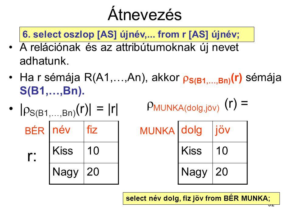 Átnevezés r: |S(B1,…,Bn)(r)| = |r| MUNKA(dolg,jöv) (r) =