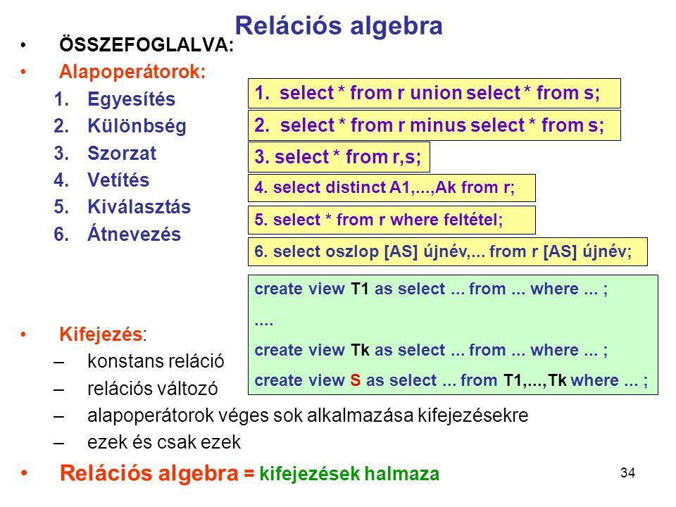 Relációs algebra Relációs algebra = kifejezések halmaza ÖSSZEFOGLALVA: