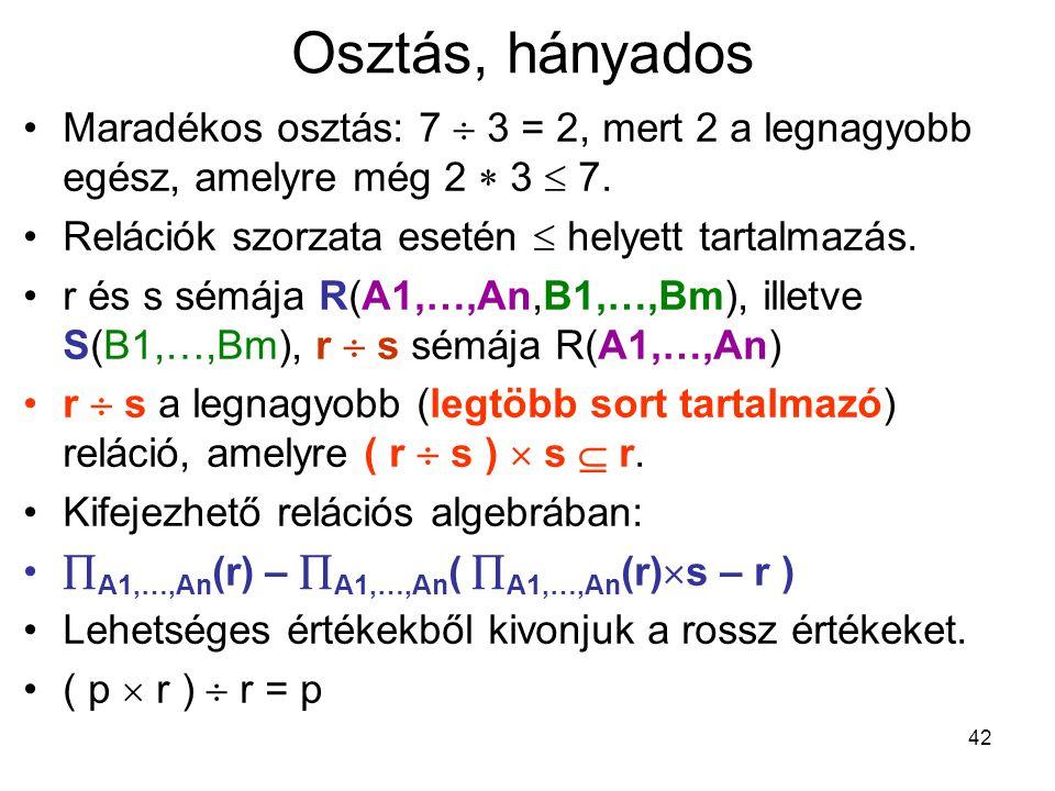 Osztás, hányados Maradékos osztás: 7  3 = 2, mert 2 a legnagyobb egész, amelyre még 2  3  7. Relációk szorzata esetén  helyett tartalmazás.