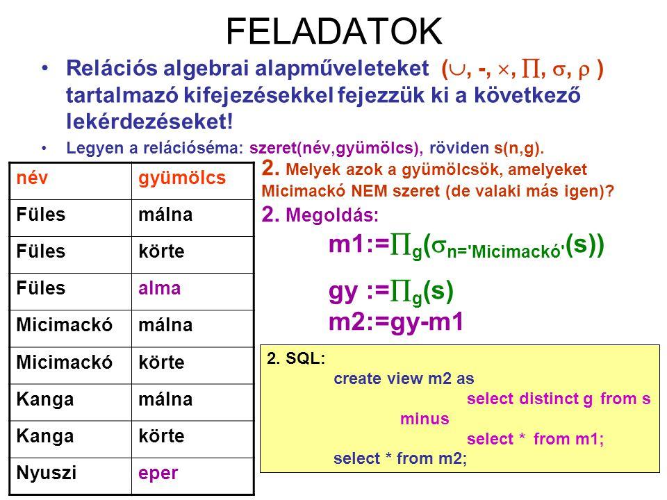 FELADATOK gy :=g(s) m2:=gy-m1