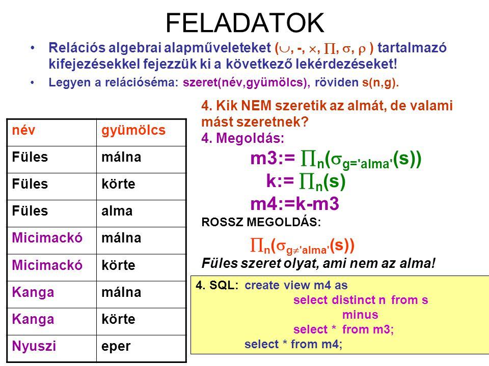 FELADATOK n(g alma (s)) k:= n(s) m4:=k-m3
