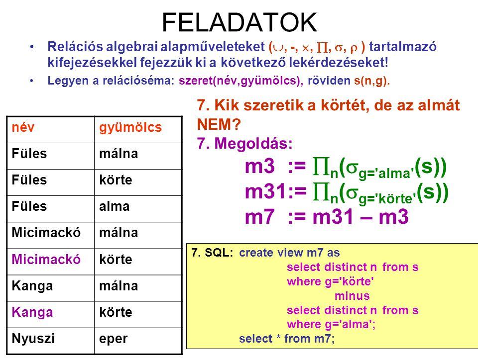 FELADATOK m31:= n(g= körte (s)) m7 := m31 – m3