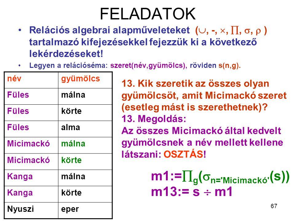 FELADATOK m1:=g(n= Micimackó (s)) m13:= s  m1