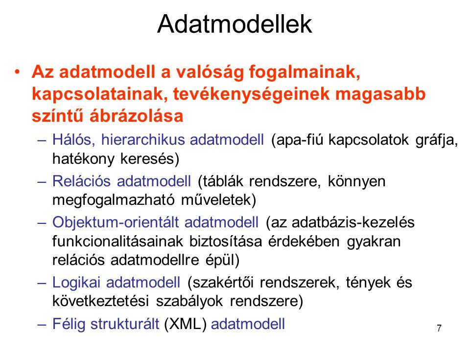 Adatmodellek Az adatmodell a valóság fogalmainak, kapcsolatainak, tevékenységeinek magasabb színtű ábrázolása.