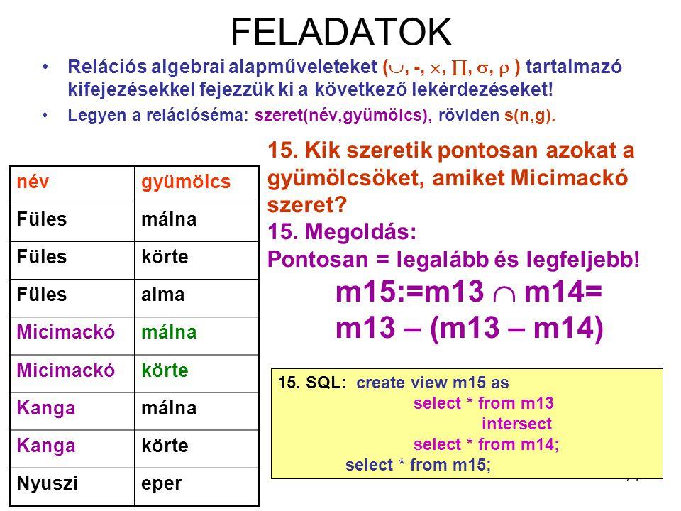 FELADATOK m15:=m13  m14= m13 – (m13 – m14)