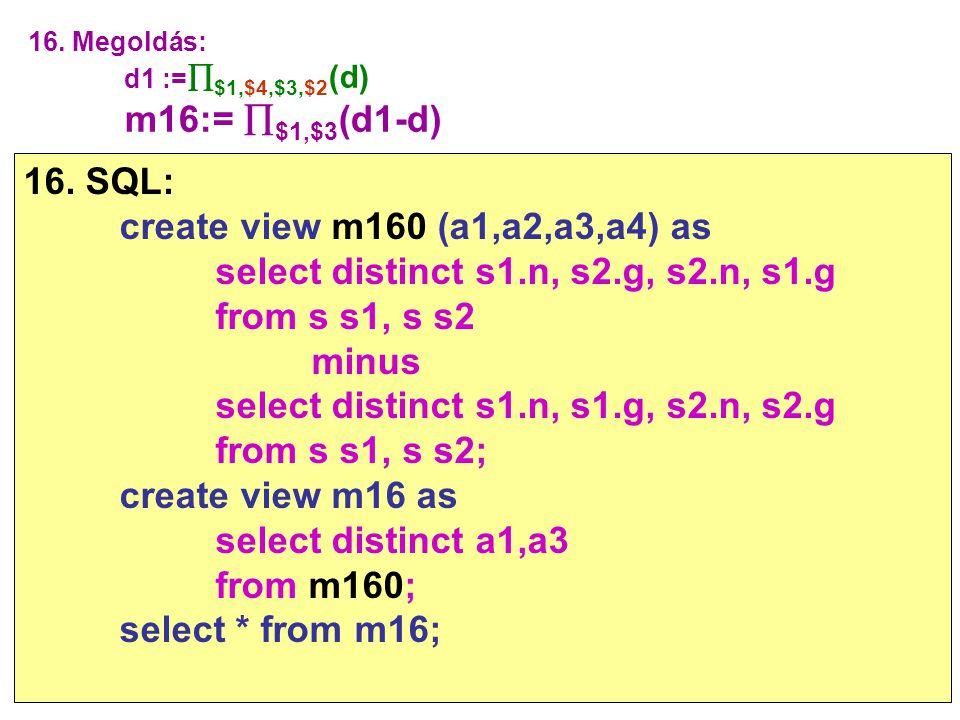select distinct s1.n, s2.g, s2.n, s1.g from s s1, s s2