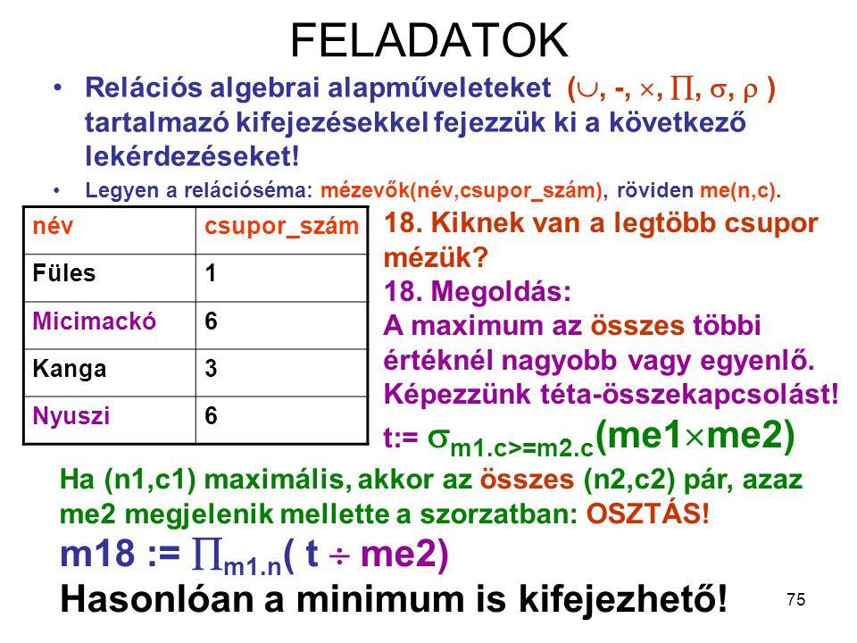 FELADATOK m18 := m1.n( t  me2) Hasonlóan a minimum is kifejezhető!