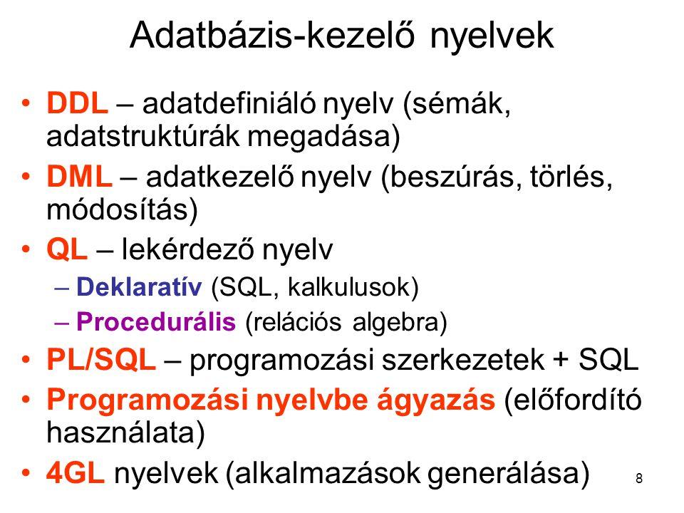 Adatbázis-kezelő nyelvek