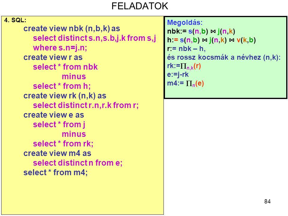 FELADATOK create view nbk (n,b,k) as